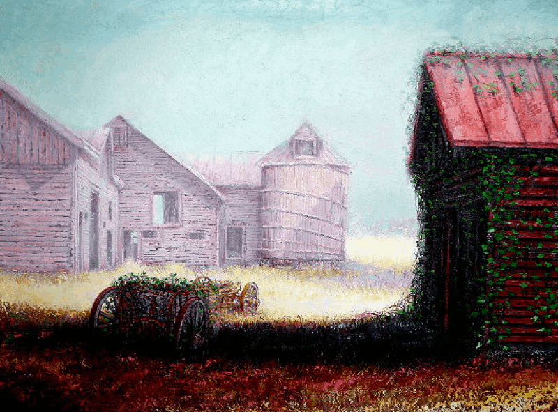 Barn in the Mist